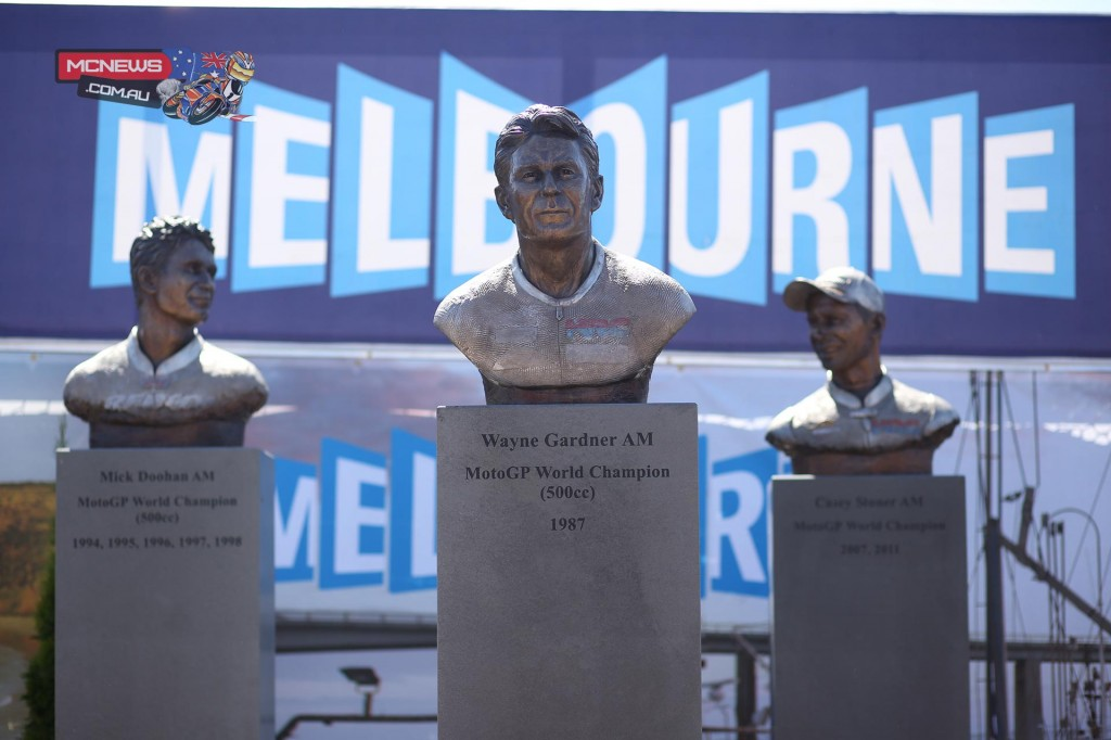 The bronze busts of Australia's three motorcycling World Champions have been moved to their permanent home at the Phillip Island Visitor Information Centre at Newhaven.