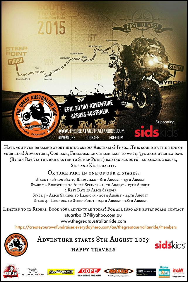 The Great Australian Ride wants YOU to come and join in the fun.