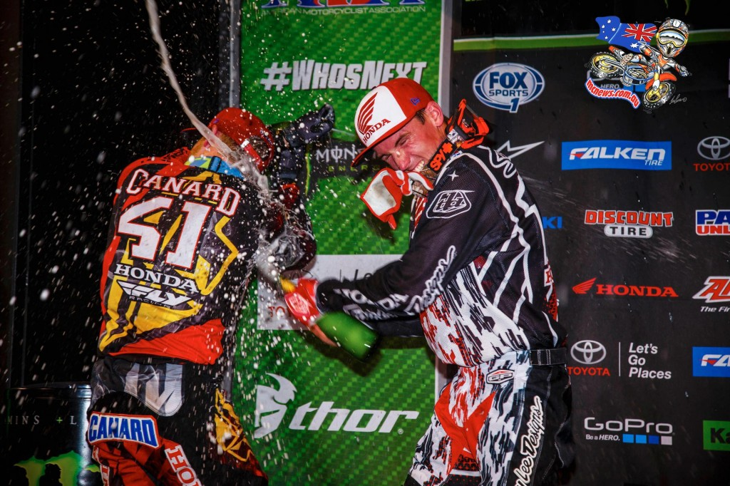 Trey Canard and Cole Seely on the podium at Indianapolis