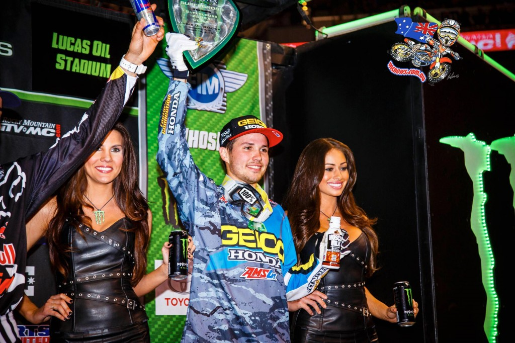 RJ Hampshire on the podium at Indy