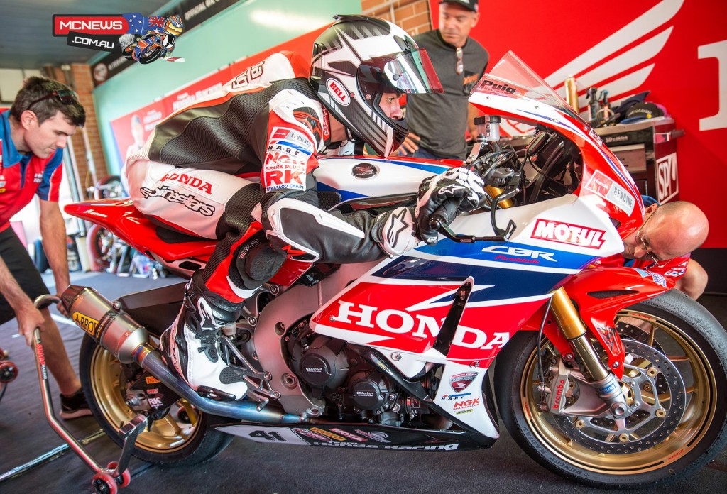 Aiden Wagner in a race crouch to check sag on the Team Honda Fireblade SP