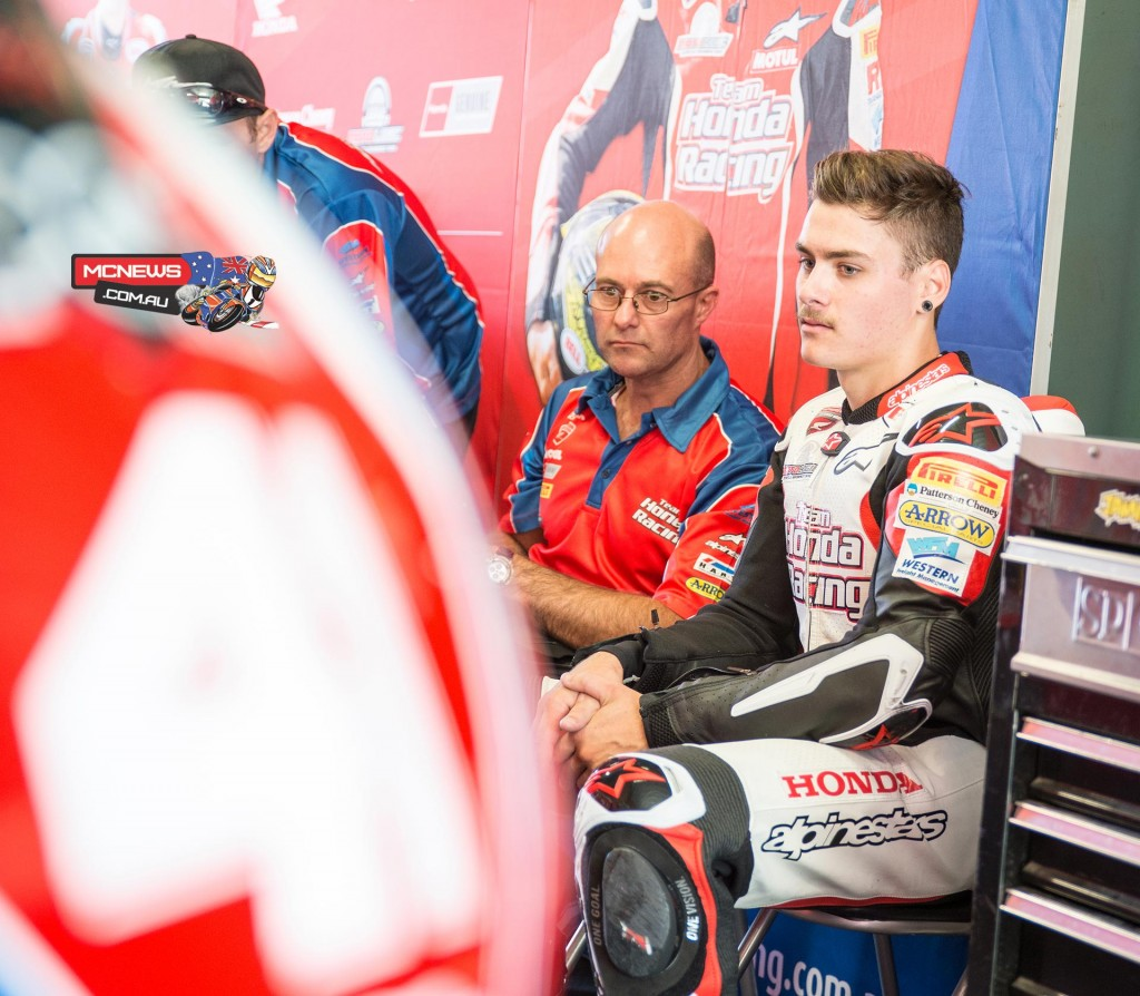 Aiden Wagner and Team Honda boss Paul Free