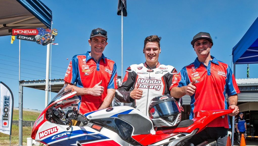 Aiden Wagner with mechanic Dan Williams and Team Honda boss Paul Free after taking out race one on his Superbike debut at Sydney Motorsports Park earlier this year. Wagner was offered a ride with Team Honda for the remainder of 2015 but elected to go overseas