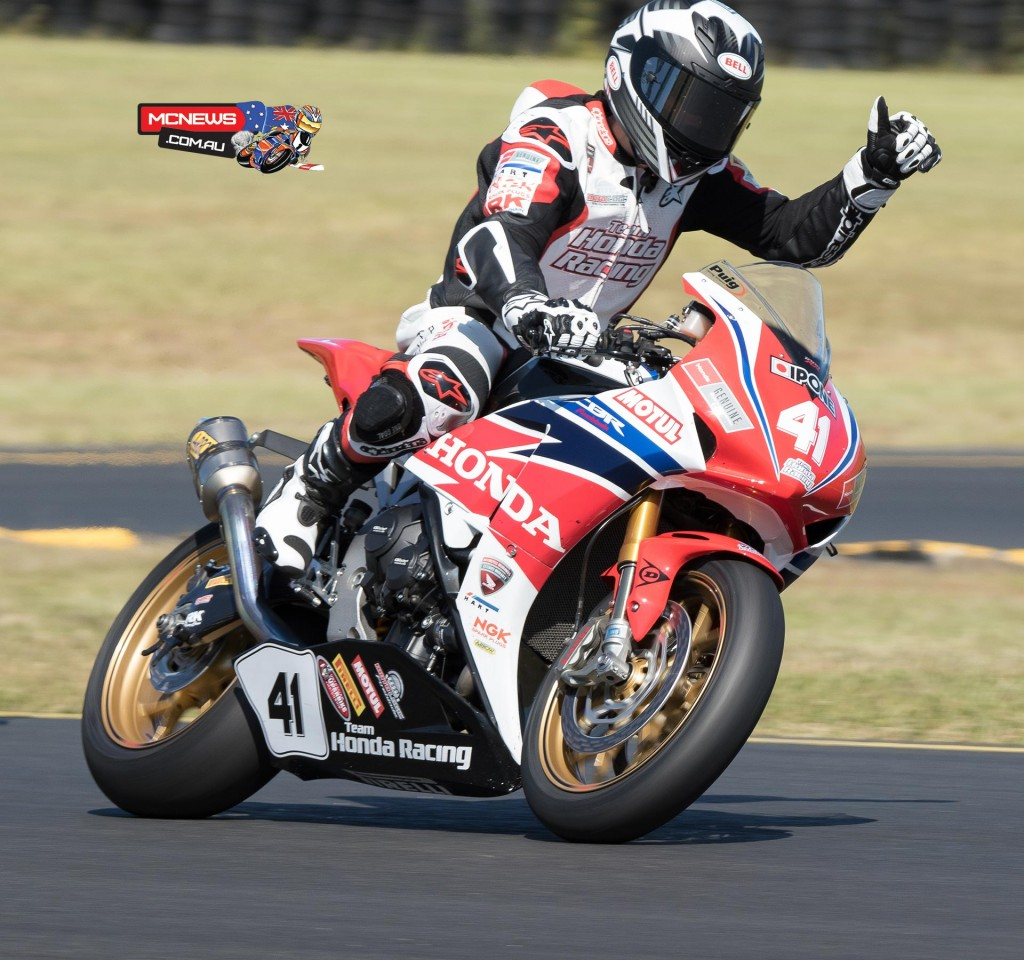 Aiden Wagner celebrates victory on his Superbike debut at Eastern Creek