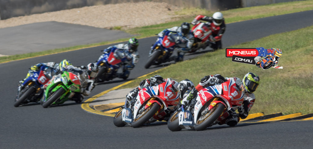 Swann Australasian FX Superbike Championship Round One Sunday Race One - The leading pack of six stream through turn seven for the first time