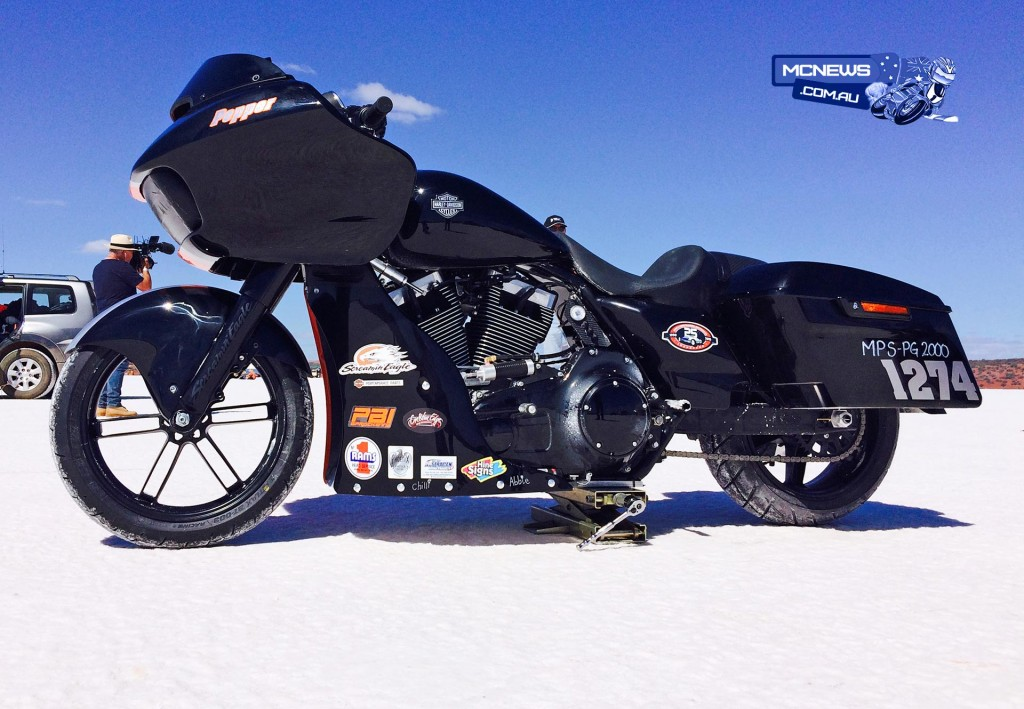 2015 Harley-Davidson FLTRXS Road Glide Special, named Pepper to challenge the Modified Partial Streamlined – Push Rod Fuel (MPS-PF) class at Lake Gairdner Speed Week