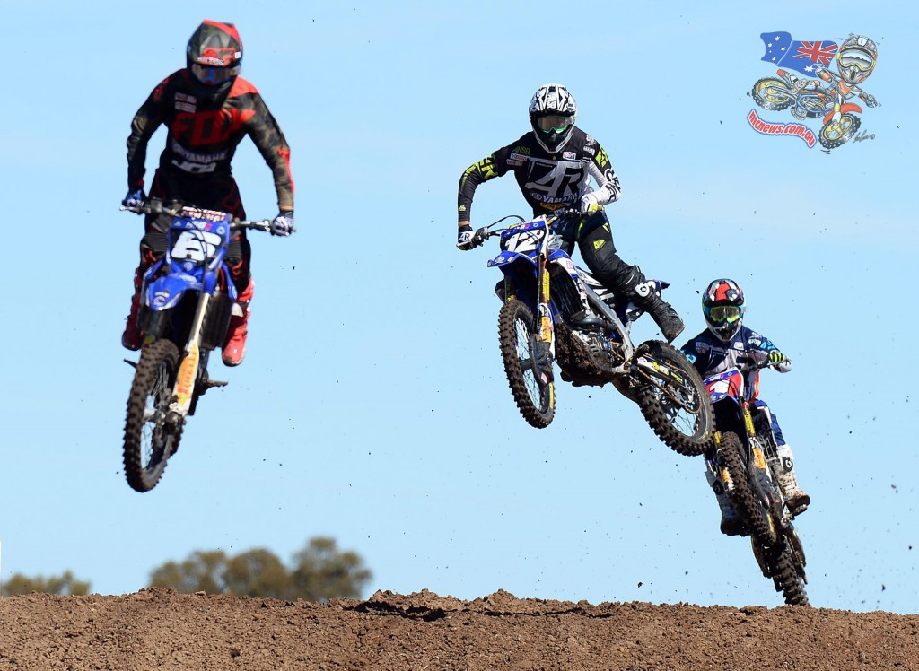 Jed Beaton (centre #12) collected the MX2 round win ahead of defending champion and teammate Luke Clout at the 2015 MX Nationals season opener at Horsham