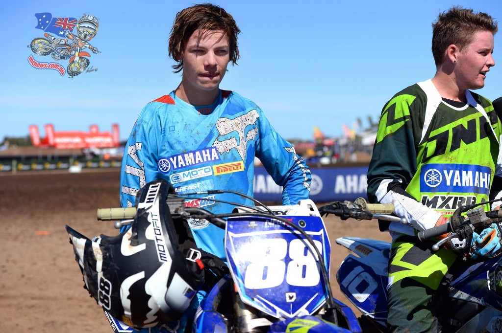 Jordan Hill took his debut win at the Horsham 2015 MX Nationals season opener. Dylan Wilson alongside finished second.