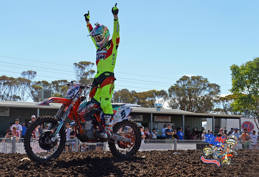 KTM Racing Team's Kirk Gibbs took two dominant race wins, and was on another level at the 2015 MX Nationals season opener at Horsham