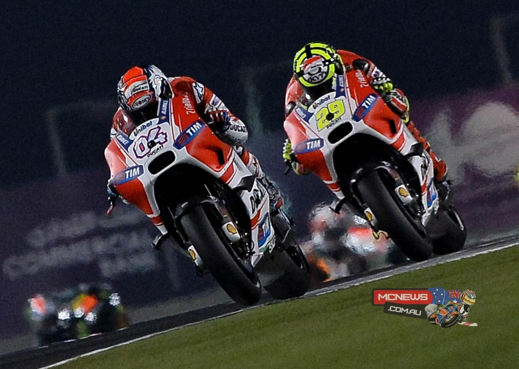 Both Ducati men figured strongly throughout the race