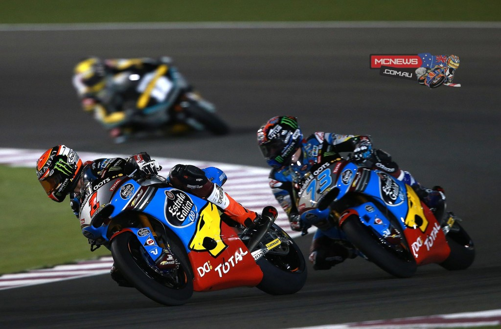 Tito Rabat leads Alex Marquez during qualifying at Losail early in the year