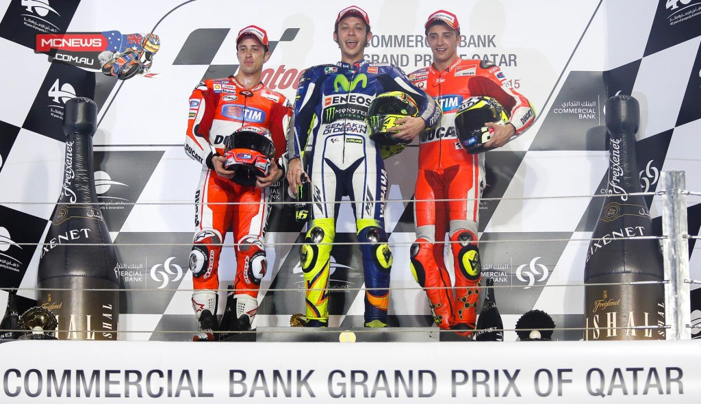 As the chequered flag was waved it was Rossi who clinched victory by just 0.174 seconds ahead of Dovizioso, while Andrea Iannone completed an all-Italian podium by finishing in third place a further two seconds behind and just ahead of Jorge Lorenzo.