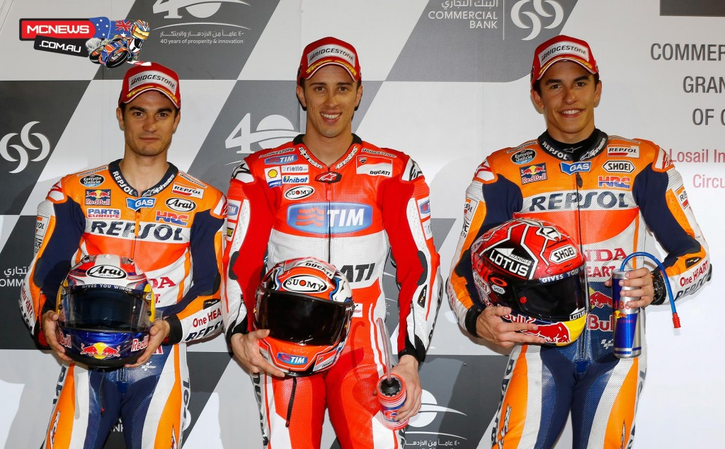 Andrea Dovizioso's pole-winning time was set on his second run in QP2 and saw him out-qualify Repsol Honda Team's Dani Pedrosa, whose best time was a 1'54.330, to the top grid spot.