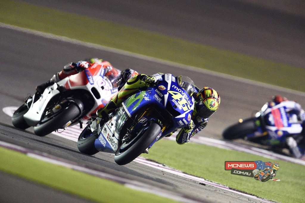 Movistar Yamaha MotoGP's Valentino Rossi emerged victorious from a thrilling battle with Ducati Team's Andrea Dovizioso to win the opening round of the MotoGP season at Qatar's Losail International Circuit.