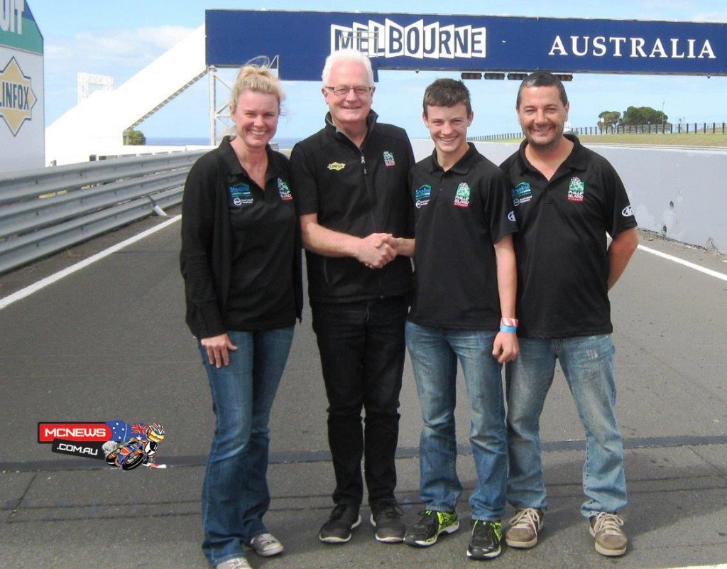 Olly Simpson with Phillip Island's Fergus Cameron flanked by Olly's parents Nathan and Leanne