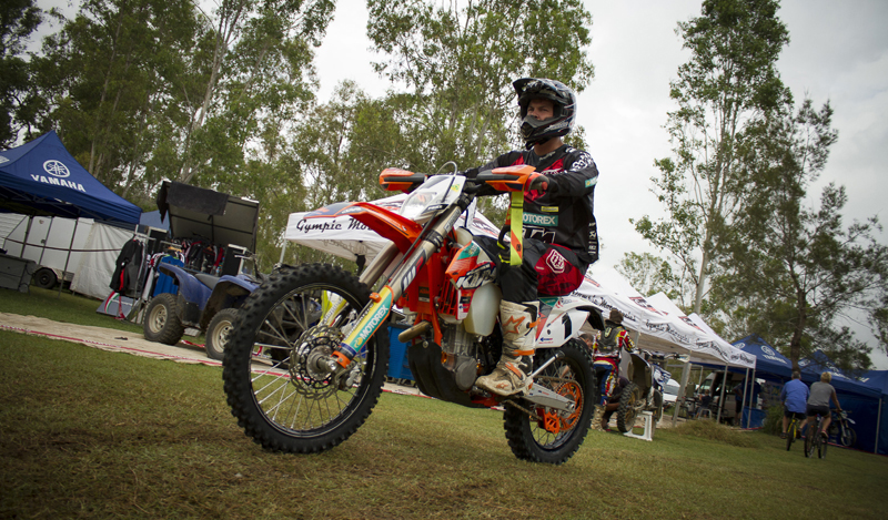 Toby Price makes his way out to the track ahead of a heat in Round 2 of the 2015 Yamaha Australian Off-Road Championships. Credit: On The Pipe Images