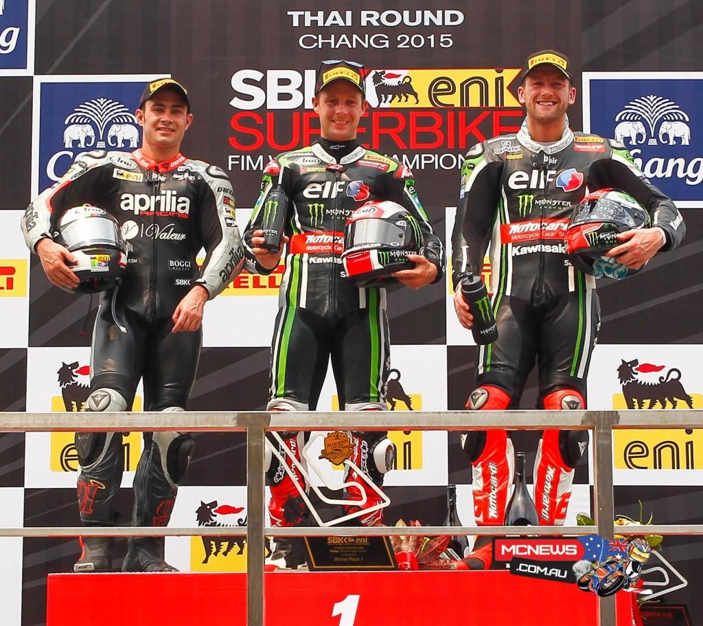 World Superbike 2015 - Round Two - Thailand - Race One Podium