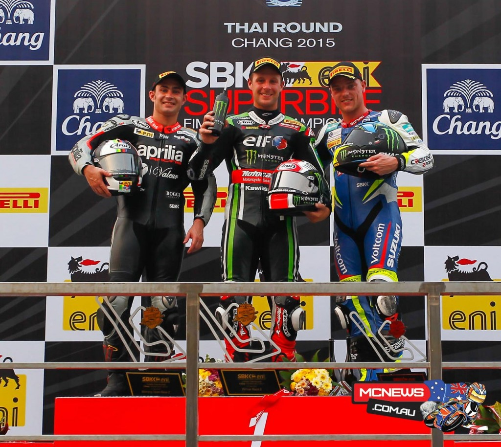 World Superbike 2015 - Round Two - Thailand - Race Two Podium