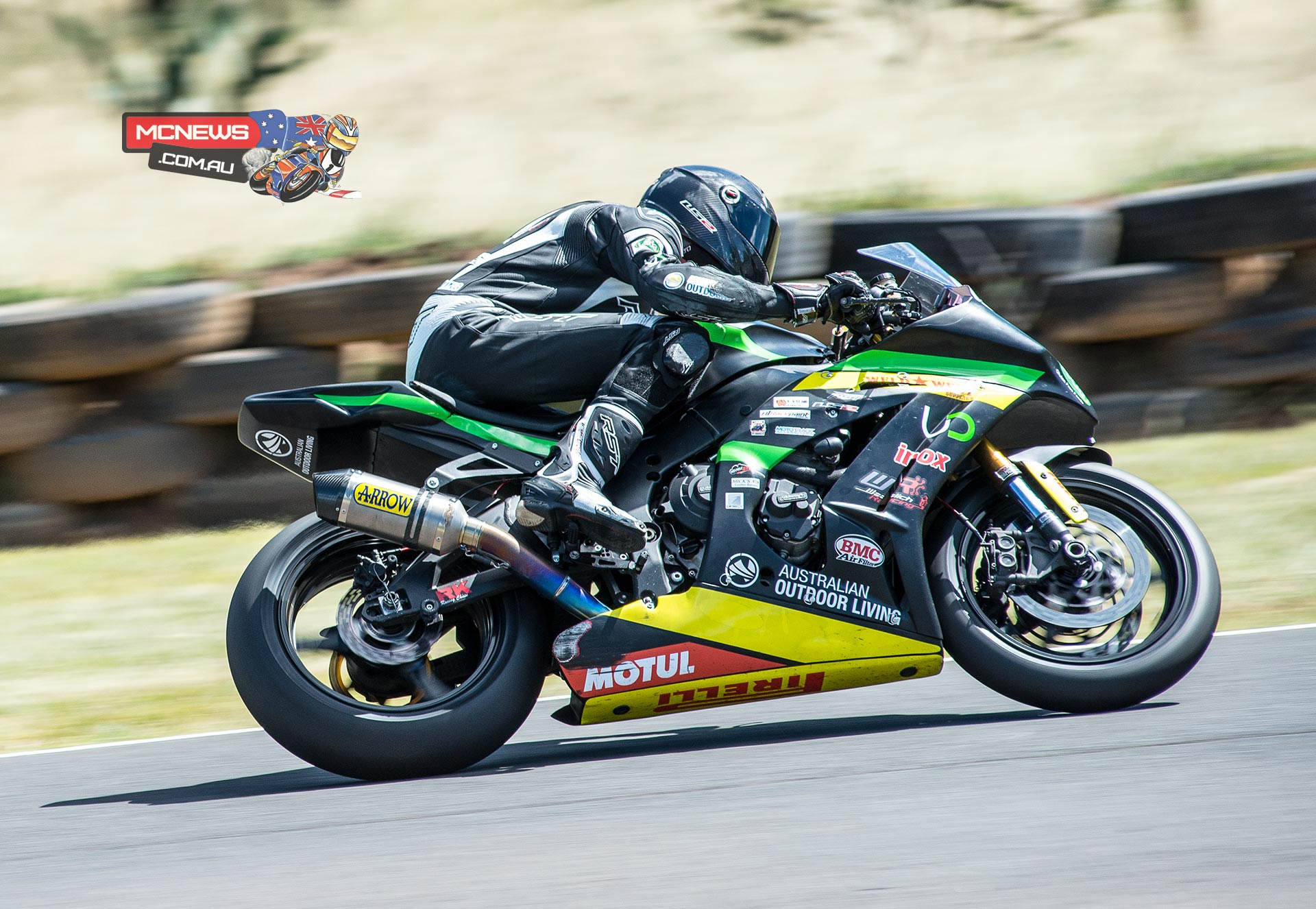 Mike Jones on the Cube Racing ZX-10R Kawasaki dominates ASBK 2015 Round Two Morgan Park