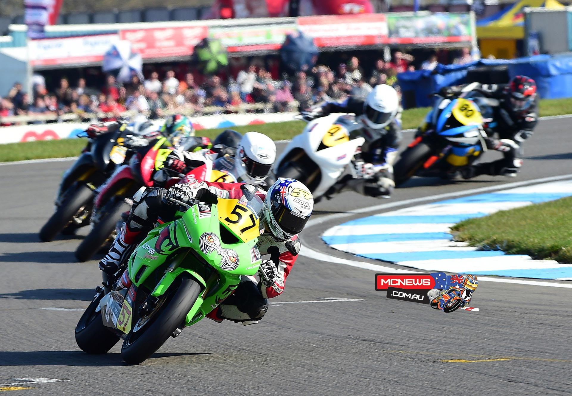 Levi Day in the thick of it during British Supersport season opener at Donington
