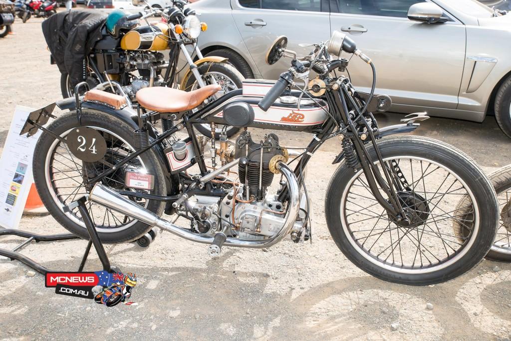 A Keith Barnard created machine combining a 1924 350cc J.A.P. race motor, a 1925 AJS frame and a 1924 Sturmey Archer gearbox
