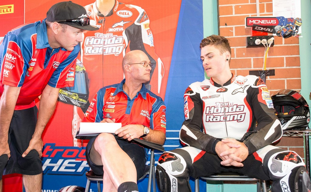 Aiden Wagner with Paul Free and Jamie Stauffer. Jamie spent time examining Aiden's lines and body language around SMP early on in the weekend and offered Wagner advice and feedback on how to get the best out of the Superbike.