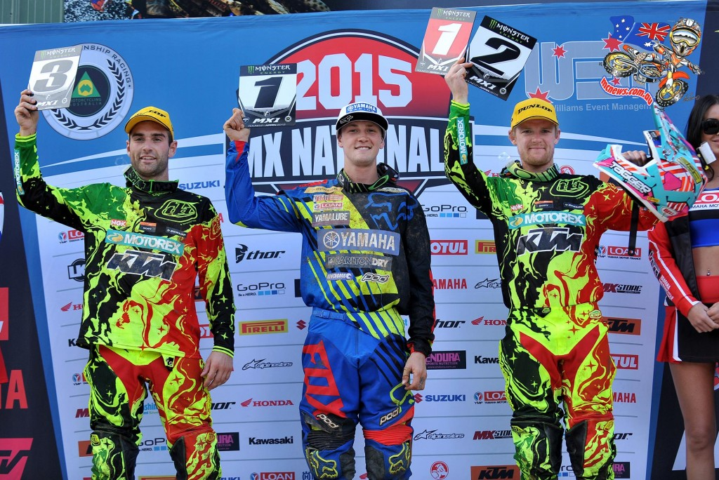 MX1 Podium (L-R) 3rd - Luke Styke ; 1st - Kade Mosig ; 2nd Kirk Gibbs MX Nationals / Round 2 / MX1 Australian Motocross Championships Appin NSW Sunday 12 April 2015 - MX Nationals - Jeff Crow