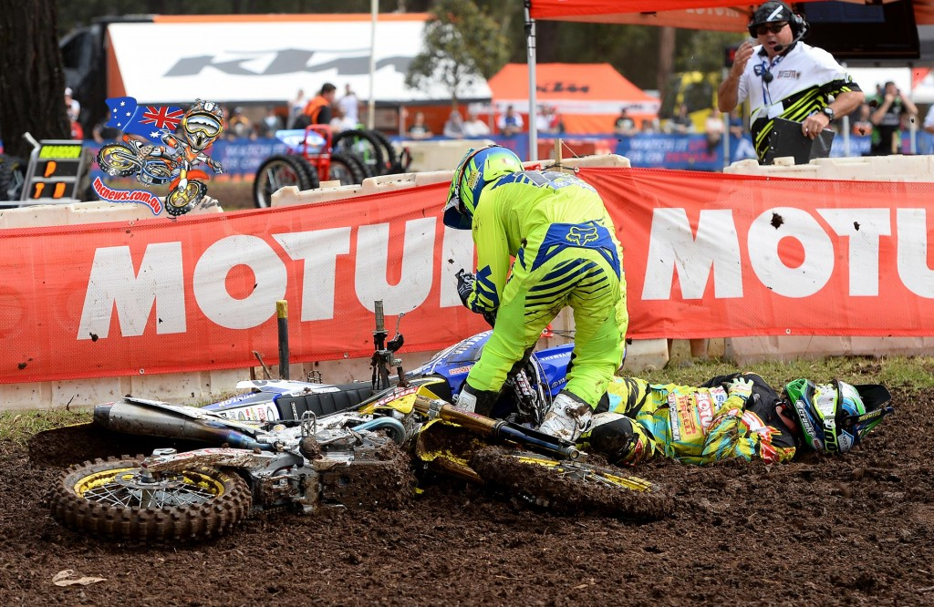 Matt Moss headed off to hospital after being invovled in this first moto crash - MX Nationals - Jeff Crow