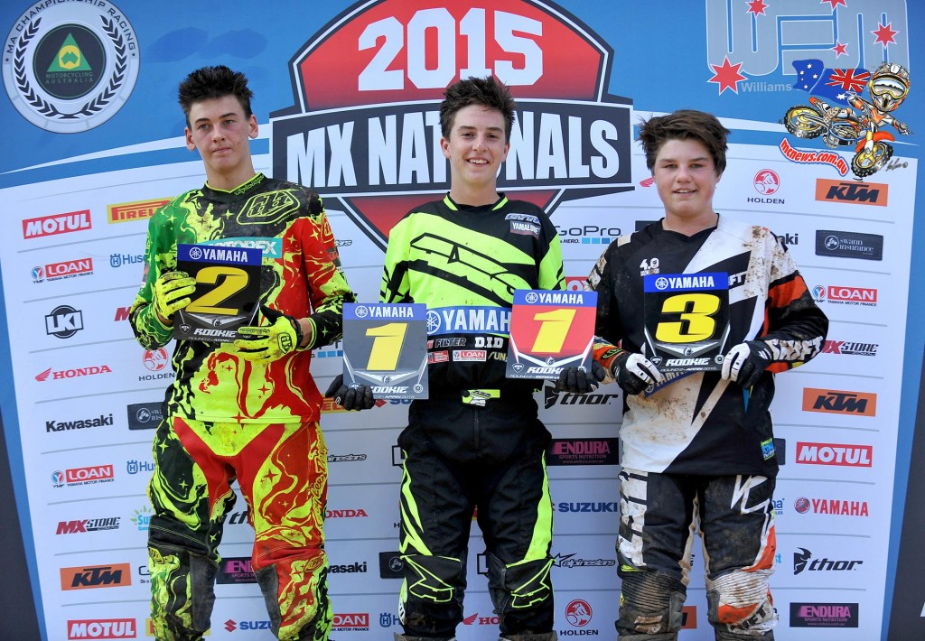 Rookies Podium (L-R) 2nd - Wade Kirkland ; 1st - Hunter Lawrence ; 3rd - Cody Dyce - MX Nationals / Round 2 / MX1 - Australian Motocross Championships - Appin NSW - Sunday 12 April 2015