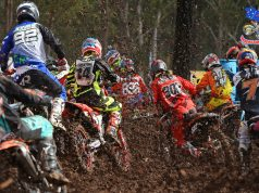 MX2 - start - 1st corner action MX Nationals / Round 2 / MX2 Australian Motocross Championships Appin NSW Sunday 12 April 2015 MX Nationals Jeff Crow