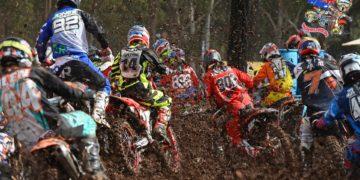 MX2 - start - 1st corner action MX Nationals / Round 2 / MX2 Australian Motocross Championships Appin NSW Sunday 12 April 2015 MX Nationals Jeff Crow