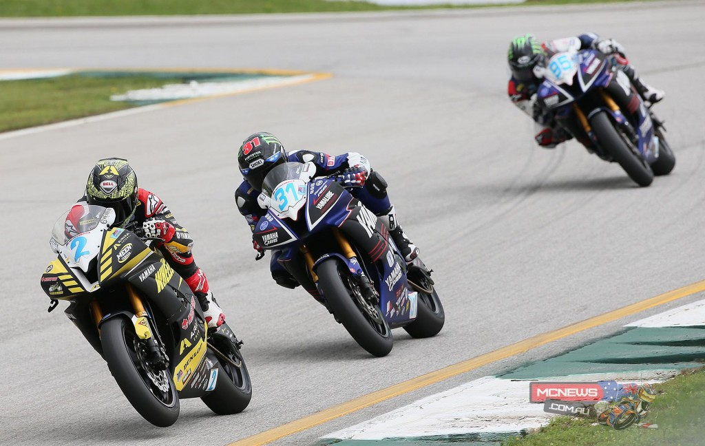 Josh Herrin (2) leads Garrett Gerloff (31) and JD Beach (95) en route to victory in the Supersport final at Road Atlanta on Saturday. Photography by Brian J. Nelson.