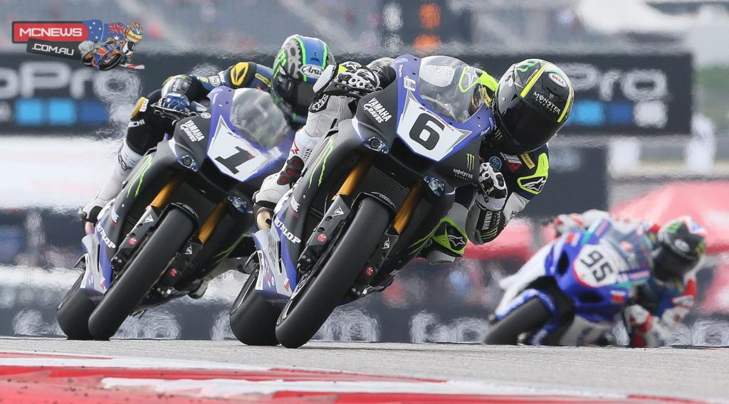 Cameron Beaubier (6) beat teammate Josh Hayes (1) and Roger Hayden (95) to win the Superbike race at the Circuit of The Americas on Sunday. Photography By Brian J. Nelson.