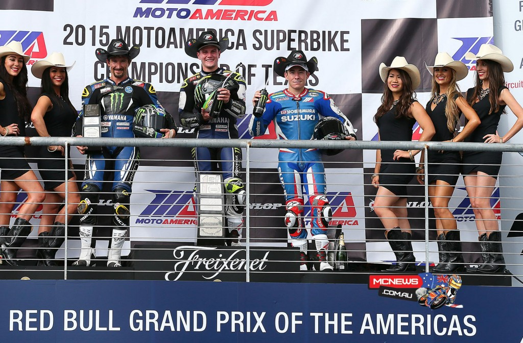 (From left to right) Josh Hayes, Cameron Beaubier and Roger Hayden celebrate on the Superbike podium at COTA. Photography By Brian J. Nelson.