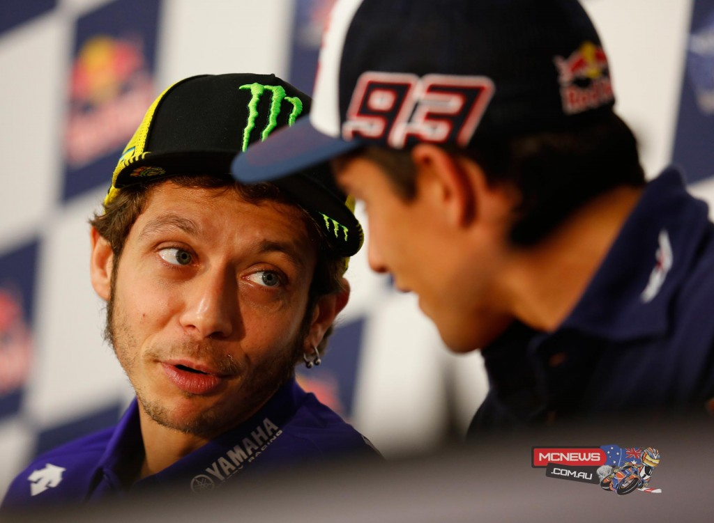 Marc Marquez and Valentino Rossi at MotoGP Argentina Press Conference