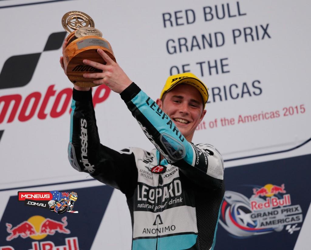 Danny Kent celebrates Moto3 victory at COTA