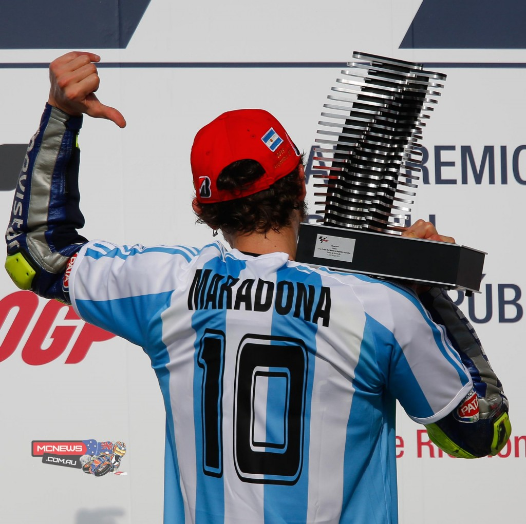 Valentino Rossi paying homage to Argentinian soccer great Diego Maradona