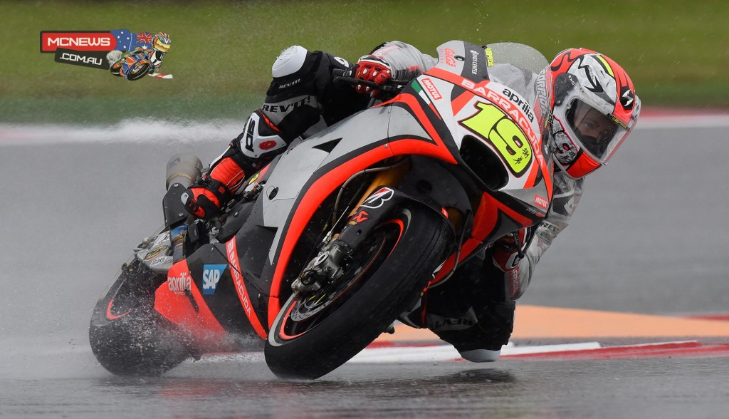 """Alvaro Bautista - """"Today we had the chance to lap in the wet. We tried different power management maps, especially coming out of turns, and I was quite comfortable. This is important because the forecast is uncertain and we need to be ready in case we have a wet race. In the afternoon with a half dry track I used slicks only in the second part of the session. Now we need to work to improve grip, especially in the middle of turns, and power management. We'll be working on these aspects tomorrow."""""""