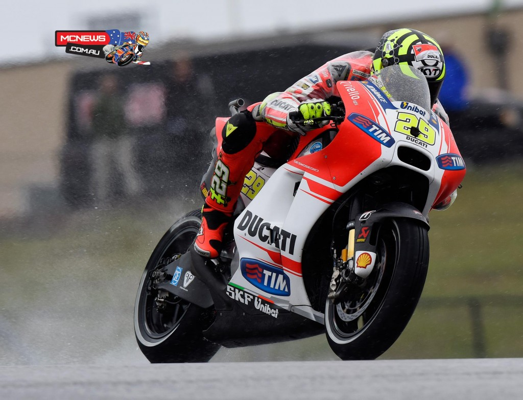 """Andrea Iannone (Ducati Team #29) – 2'05.190 (3rd) - """"I am pleased with how today ended. FP1 this morning was a bit more difficult for me because I didn't have a good feeling with the bike in the wet. In the afternoon however, I managed to be quite quick with the bike in its dry weather set-up and right from the start of the second session I had a good feeling with the GP15: I like the way it behaves and so I am satisfied with our situation at the moment. Let's see tomorrow what the weather conditions are going to be like."""""""