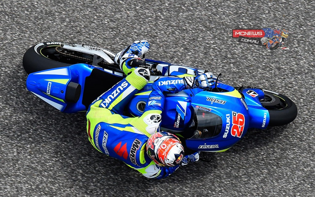 """Maverick Viñales:  """"Today was pretty difficult. This morning I had my first experience with the bike in the rain and I feel that I still have a lot of work to do to improve my riding style and also give proper feedback to the engineers to improve the machine. In dry conditions I tried to exploit the session to my advantage, but I had few laps available and unfortunately the engine map on my GSX-RR was not the best one so I couldn't be as fast as I wanted, but now we can fix it for tomorrow and try to improve more."""""""