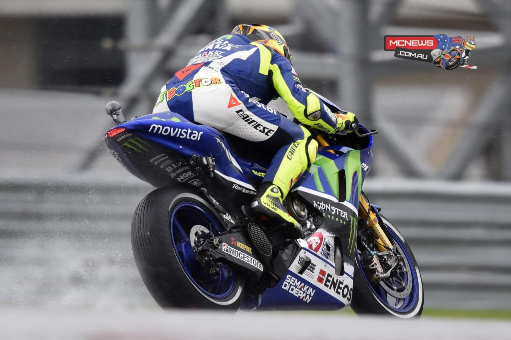 """Valentino Rossi - 6th - 2'05.691 - 13 laps - """"It's important to test on the wet because last year I never had a good feeling with the YZR-M1 under these conditions. We changed a lot on the setting of the bike and today I finished fourth on the full wet, which is not so bad, but on the dry I feel better. I am only sixth because I hit some traffic and I can do a little bit better than that. We still have to work, but the first feeling of the bike is not so bad."""" COTA MotoGP"""