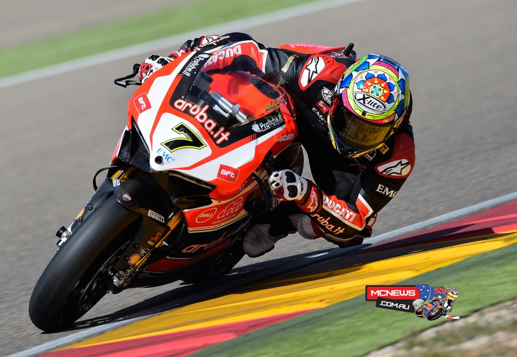 """Chaz Davies (Aruba.it Racing - Ducati Superbike Team #7) – 3rd (1'51.582) - """"This morning went well and I felt that I could lap fast but then this afternoon the grip dropped off and I didn't really get the feedback that I want from the bike here at Aragón. I know I can go faster, it's just a case of finding the right setting, we're not there yet although it's doesn't look bad on paper. We still have work to do, but overall it's been a positive day. We'll take a good look at the data this evening and then tomorrow try to develop some of the ideas we've got. I'm confident that we can do more..."""""""