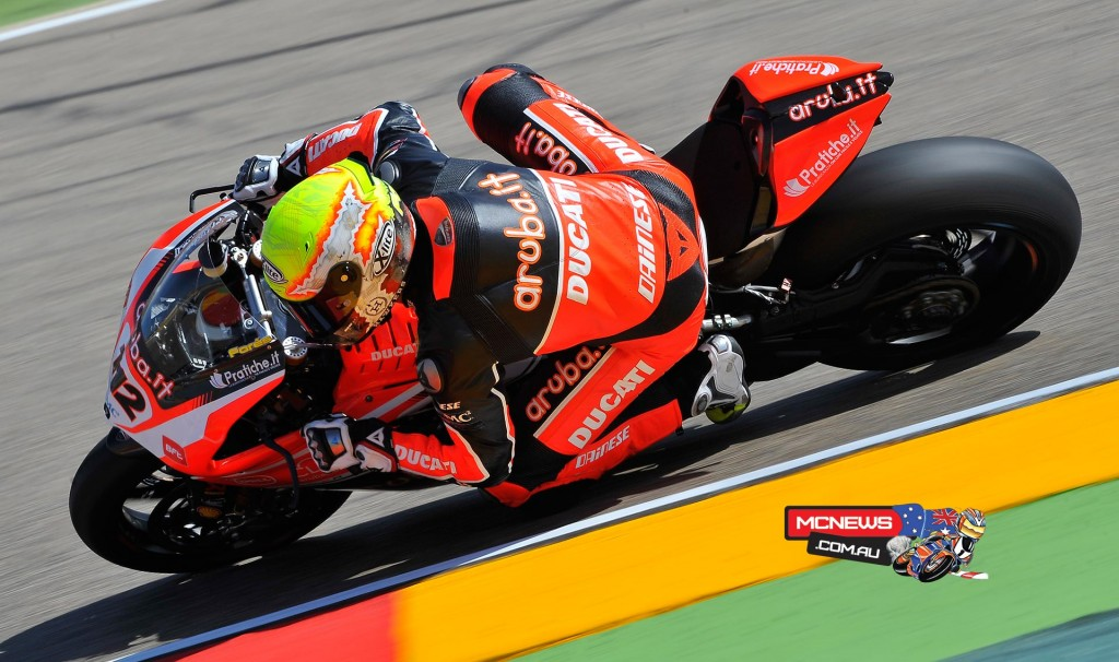 """Javier Forés - (Aruba.it Racing - Ducati Superbike Team #112) –  4th (1'52.000) - """"We're going quite well, considering it's only the first day – I hope we can continue in this direction. I haven't ridden the Ducati for a few months, since the IDM concluded last season, and so I'm pleased with how these first sessions have gone. This morning I already found good pace and the work we completed at Misano helped me find a good feeling that I've had again here today at Aragón. I like to remain optimistic; we need to continue to work calmly, as the level here is very high, but I would of course like to thank the team by completing a good weekend's work and two good races on Sunday..."""""""