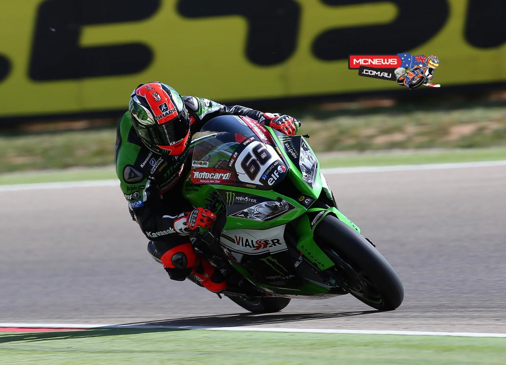 """Tom Sykes #66 - Kawasaki Racing Team - 2nd - """"Today was not my best day to be honest. I woke up this morning at 5am and I immediately realised something was not right. Despite this we worked really hard and we knew we could have been fast given our previous tests here. We are definitely heading in the right direction with the bike. I wasn't able to get down to business properly but the results are encouraging anyway. All I wish now is to drink a good cup of tea and an early night. Hopefully I'm feeling better tomorrow."""""""