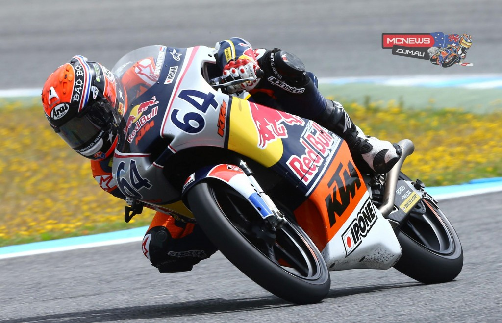 Dutch 16-year old Bo Bendsneyder did the double at the Jerez Red Bull Rookies Cup season 2015 opener