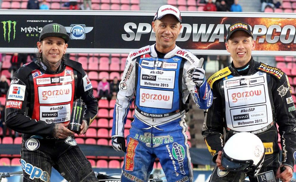 Nicki Pedersen topped the rostrum after an electrifying start helped him triumph in the final ahead of British hero Tai Woffinden, who was second. Swedish star Andreas Jonsson was third
