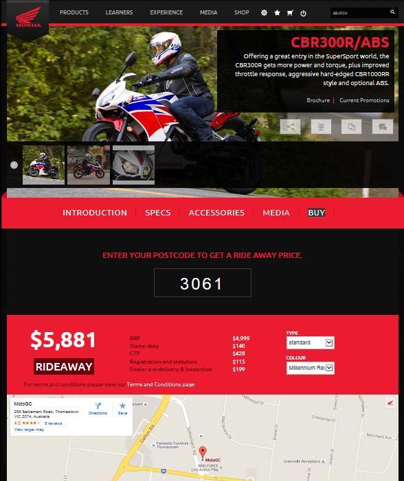 Honda Ride Away Pricing At Your Finger Tips