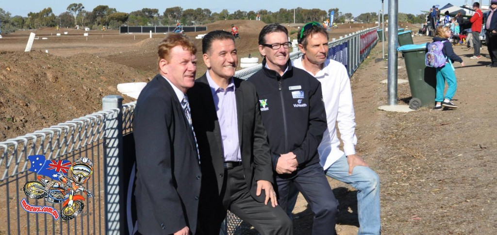 L-R: Horsham Rural City Council Mayor Mark Radford, Minister for Sport, Tourism and Major Events Hon. John Eren, Motorcycling Victoria CEO Wayne Holdsworth and MA President Braxton Laine at the Horsham Motorcycle Club for the 2018 FIM World Junior Motocross Championship announcement