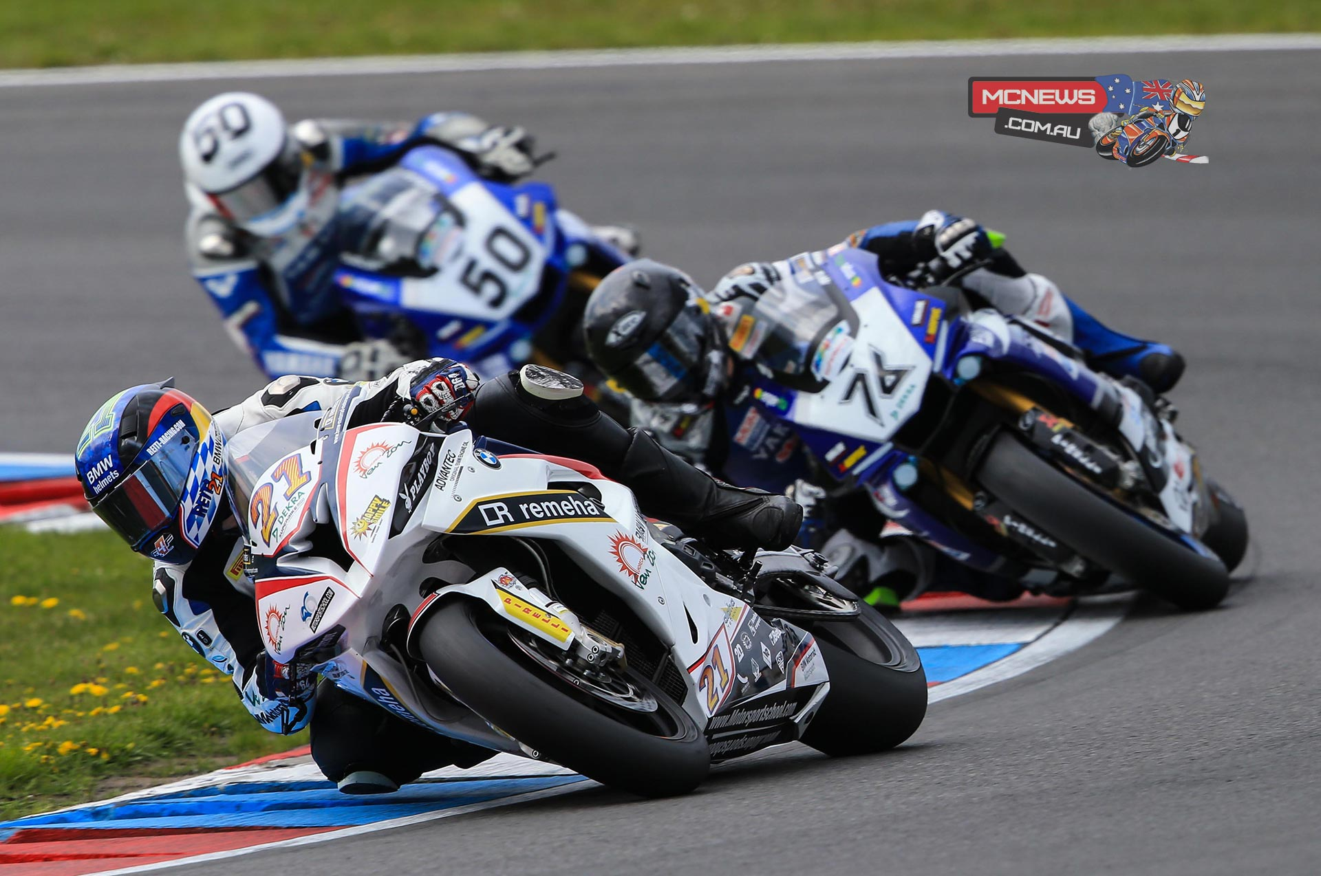 Markus Reiterberger leads Max Neukirchner and Damian Cudlin at 2015 IDM SBK Season opener at Lausitzring