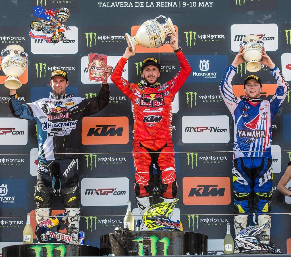 MXGP Talavera 2015 Overall: 1. Antonio Cairoli (ITA, KTM), 45 points; 2. Maximilian Nagl (GER, HUS), 45 p.; 3. Romain Febvre (FRA, YAM), 40 p